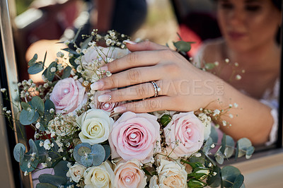 Buy stock photo Closeup shot of a bride holding a bouquet of flowers on her wedding day