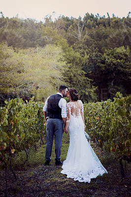 Buy stock photo Rearview shot of a young couple kissing outside on their wedding day