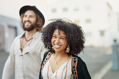 Buy stock photo Cropped shot of an affectionate couple spending time outdoors