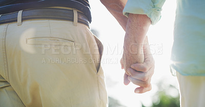 Buy stock photo Rearview shot of an unrecognizable senior couple walking together while holding hands in a park during the day