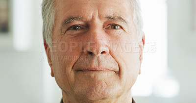 Buy stock photo Portrait of a senior man at home