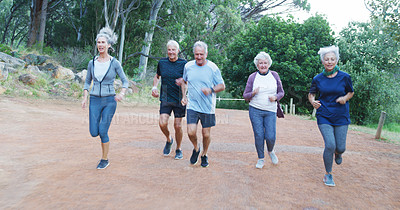 Buy stock photo Full length shot of a group of cheerful senior friends going out for a run outdoors