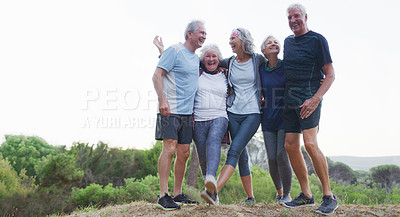 Buy stock photo Full length shot of a group of cheerful senior friends standing together while out for a workout in a park