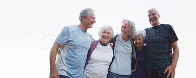 Buy stock photo Cropped shot of a group of cheerful senior friends embracing each other while out for a workout in a park