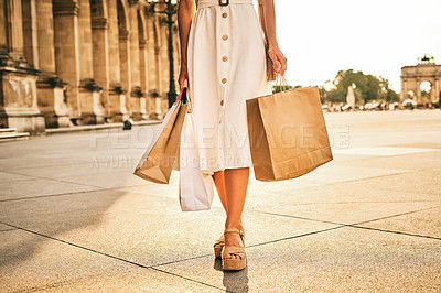 Buy stock photo Closeup shot of a woman out on a shopping spree in the city of Paris