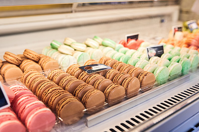 Buy stock photo Shot of delicious freshly baked macaroon cookies inside a bakery in France, Paris