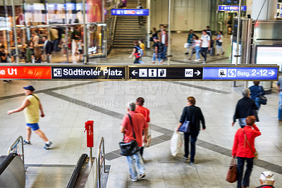 Buy stock photo Shot of unrecognizable people in a German train station