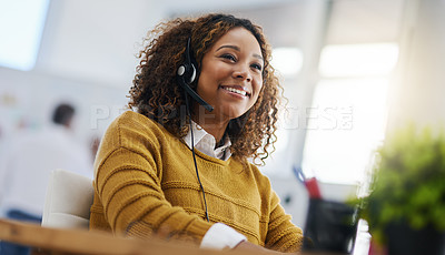 Buy stock photo Shot of a female agent working in a call centre
