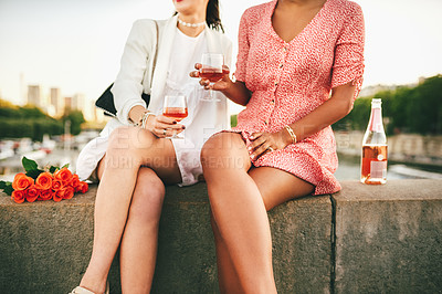 Buy stock photo Cropped shot of two unrecognizable young women sitting and drinking wine together alongside a canal in Paris, France