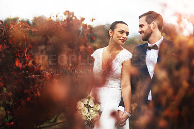 Buy stock photo Shot of a happy newlywed young couple walking together outdoors on their wedding day