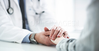 Buy stock photo Cropped shot of an unrecognizable male doctor consoling a female patient in his office