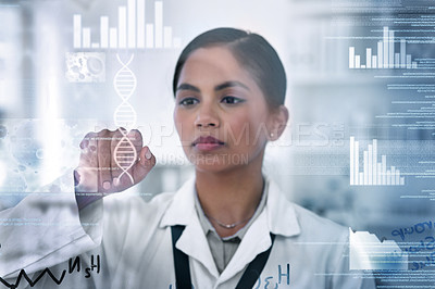 Buy stock photo Cropped shot of an attractive young female scientist working on an interactive surface in her laboratory