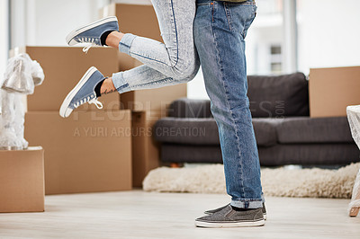 Buy stock photo Cropped shot of an unrecognizable couple celebrating their new home