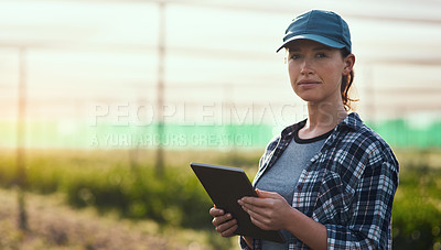 Buy stock photo Cropped portrait of an attractive young female farmer using a tablet while working on her farm