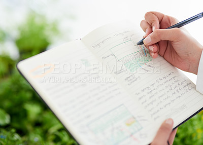 Buy stock photo Closeup shot of an unrecognisable scientist writing notes about plants in a lab