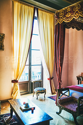 Buy stock photo Still life shot of a luxurious hotel room