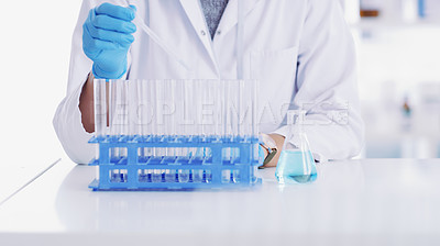 Buy stock photo Closeup shot of a scientist working with medical samples in a lab