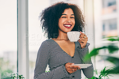 Buy stock photo Cropped shot of an attractive young businesswoman drinking coffee in her creative office