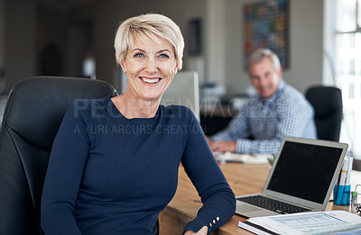 Buy stock photo Portrait of a mature businesswoman sitting in an office