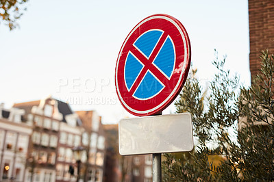 Buy stock photo Still life shot of a clearway traffic sign in the city of Amsterdam, Netherlands
