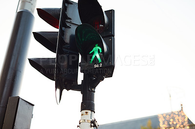 Buy stock photo Still life shot of traffic lights in the busy city of Amsterdam, Netherlands