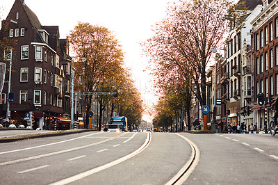 Buy stock photo Still life shot of a busy city street in Amsterdam, Netherlands