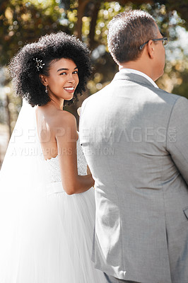 Buy stock photo Portrait of a happy young bride getting walk down the aisle by her father on her wedding day