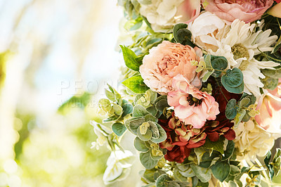 Buy stock photo Still life shot of a beautiful bouquet of flowers outdoors