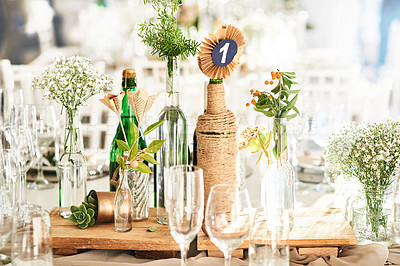 Buy stock photo Still life shot of a decorated table setting at a wedding reception