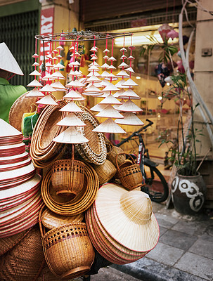 Buy stock photo Shot of various products at a market stall in Vietnam