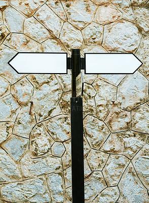 Buy stock photo Shot of directional road signs in a Vietnamese town