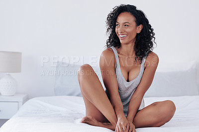Buy stock photo Full length shot of a gorgeous young woman posing seductively on her bed at home