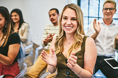 Buy stock photo Cropped shot of a diverse group of businesspeople clapping during a seminar in a modern office