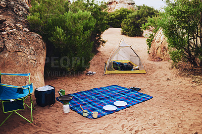 Buy stock photo Still life shot of a campsite in the wilderness
