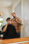 Coffee break during a haircut
