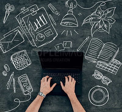 Buy stock photo Cropped shot of an unrecognizable man using his laptop with chalk illustrations drawn around it