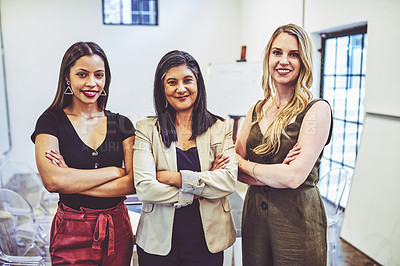 Buy stock photo Portrait of a group of businesswomen standing together in an office