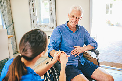 Buy stock photo Cropped shot of a senior man smiling while having a chat with a female nurse in a nursing home