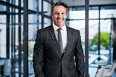 Buy stock photo Cropped portrait of a handsome mature businessman smiling while standing in a modern office