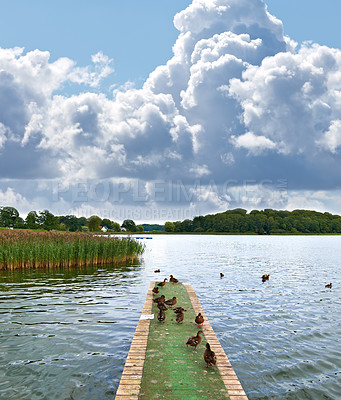 Buy stock photo A photo of Jetty on a lake