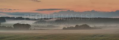 Buy stock photo Fog and landscape in summertime