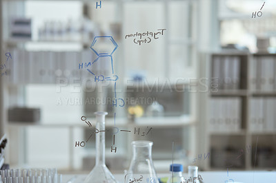 Buy stock photo Closeup shot of molecular structures on a glass wall in a lab
