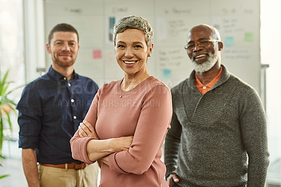 Buy stock photo Cropped shot of an attractive mature businesswoman standing with her colleagues in the office