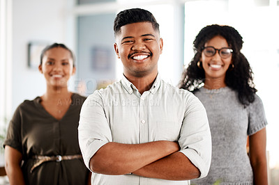 Buy stock photo Portrait of a team of young businesspeople working together in a modern office