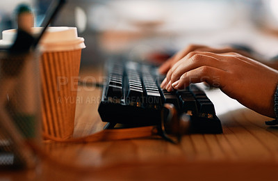 Buy stock photo Closeup shot of an unrecognisable businesswoman typing on a keyboard in an office at night