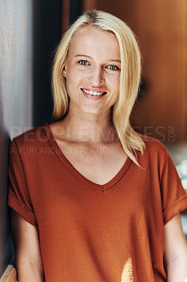 Buy stock photo Portrait of an attractive young hairdresser posing inside her salon