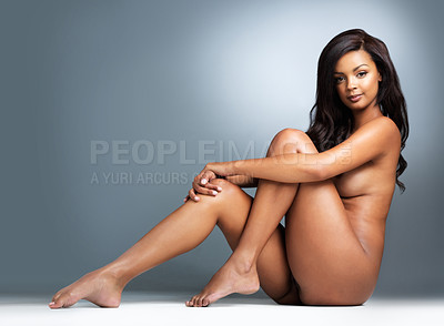 Buy stock photo Studio shot of a gorgeous young woman posing nude
