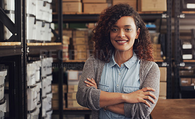 Buy stock photo Portrait of a confident young businesswoman working in a creative office