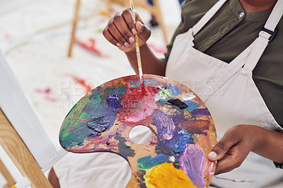Buy stock photo Cropped shot of an unrecognizable woman holding a painter's palette
