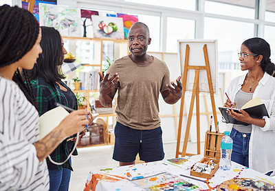 Buy stock photo Cropped shot of a ground of people having a discussion in a art class
